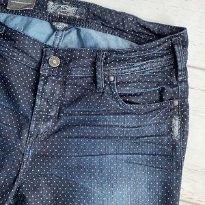 NWT Silver Suki Skinny Dark Wash Jeans With Dots